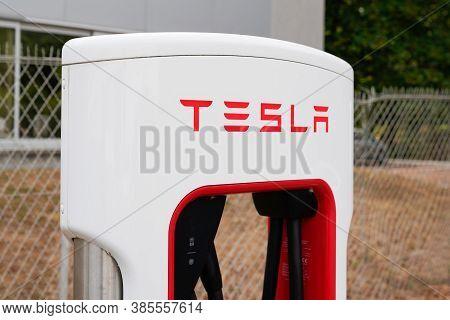 Bordeaux , Aquitaine / France - 09 01 2020 : Tesla Modern Charger Car Detail Of Supercharger Power S