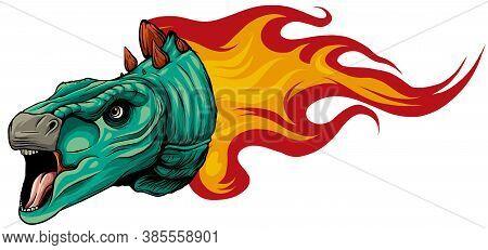 Dinosaurus Stegosaurus Head Art Vector Illustration Design