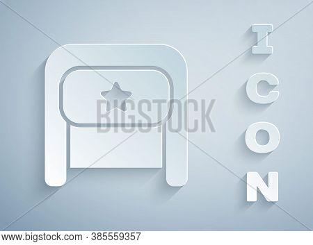 Paper Cut Ushanka Icon Isolated On Grey Background. Russian Fur Winter Hat Ushanka With Star. Soviet