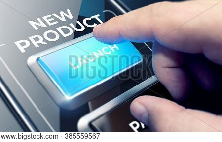Finger About To Press A Glass Button With The Word New Product . Business Concept
