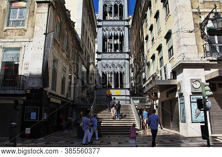 Lisbon / Portugal - 10 May 2015: Santa Justa Lift - The Elevator In Lisbon City, Portugal