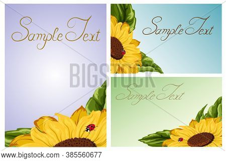 A Set Of Postcards With A Sunflower.yellow Sunflowers In A Set Of Postcards With Text.