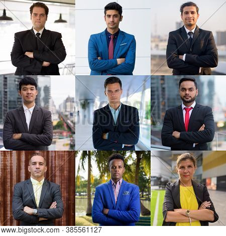 Collage Of Multi Ethnic Business People Outdoors