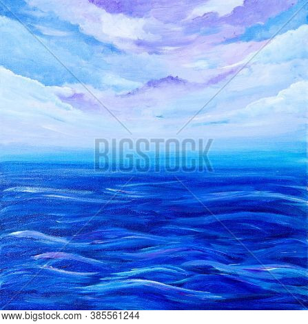 Original Acrylic Painting Showing Waves In  Ocean Or Sea On Canvas. Modern Impressionism, Modernism,
