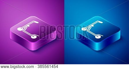 Isometric Roller Scooter For Children Icon Isolated On Blue And Purple Background. Kick Scooter Or B