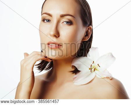Young Pretty Caucasian Woman Spa Isolated On White Background, Beauty People Making Cosmetic Care Co