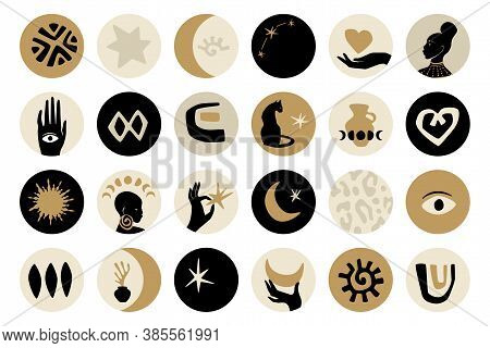 Afro Gold Highlight Covers Design Set In Black, Gold, And Gray Colors. Vector Afro Shapes In Contemp