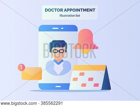 Doctor Appointment Concept Smartphone Screen Schedule Calendar Reminder Email Notification With Flat
