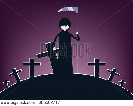 Halloween Death Character Illustration. Scary Cartoon Grim Reaper With Scythe