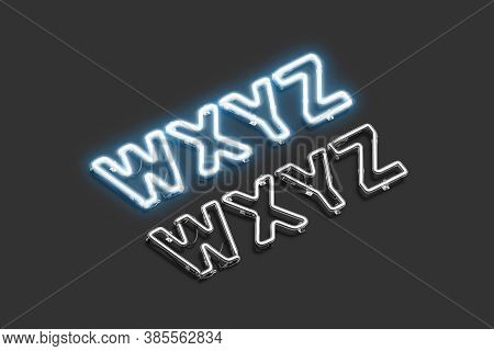 Neon W X Y Z Symbols, Ultraviolet Font Mockup, 3d Rendering. Electricity Glowing Typeface With Capit