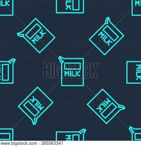 Green Line Paper Package For Milk Icon Isolated Seamless Pattern On Blue Background. Milk Packet Sig