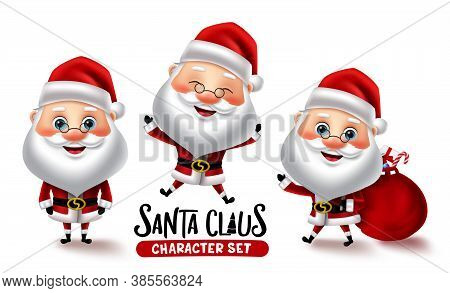 Santa Claus Character Vector Set. Christmas Santa Characters In Different Pose And Gestures Isolated