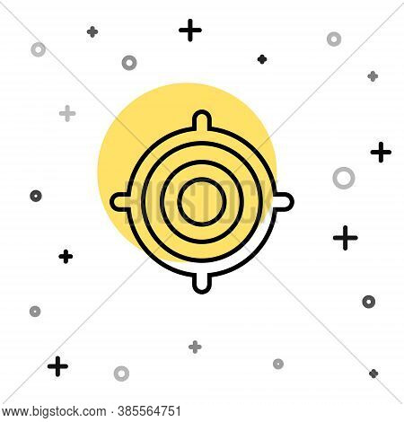 Black Line Target Sport Icon Isolated On White Background. Clean Target With Numbers For Shooting Ra