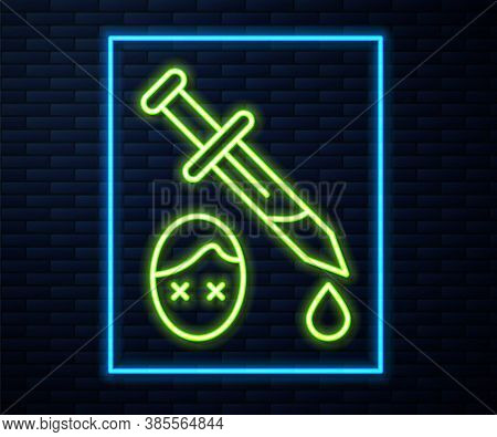 Glowing Neon Line Sword With Blood Icon Isolated On Brick Wall Background. Medieval Weapons Knight A