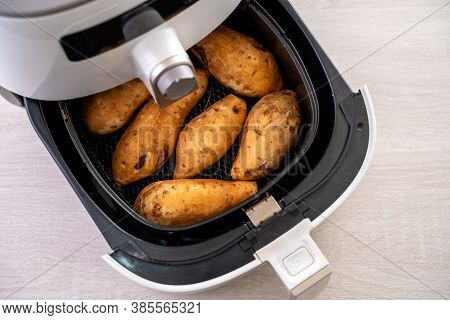 Roasted Sweet Potato Cooked By Airfryer At Home. Healthy Food For Diet Eating.