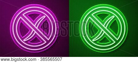Glowing Neon Line Anti Worms Parasite Icon Isolated On Purple And Green Background. Vector