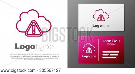 Logotype Line Storm Warning Icon Isolated On White Background. Exclamation Mark In Triangle Symbol.
