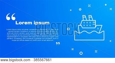 White Line Cruise Ship In Ocean Icon Isolated On Blue Background. Cruising The World. Vector
