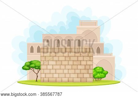 Holy Jerusalem City Wall And Architecture Vector Illustration