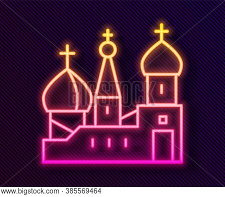 Glowing Neon Line Moscow Symbol - Saint Basils Cathedral, Russia Icon Isolated On Black Background.