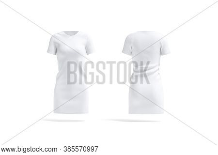 Blank White Cloth Dress Mockup, Front And Back View, 3d Rendering. Empty Women Cotton Jersey Or Gown