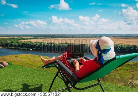 Remote Work - Young Woman Working With Laptop In The Country