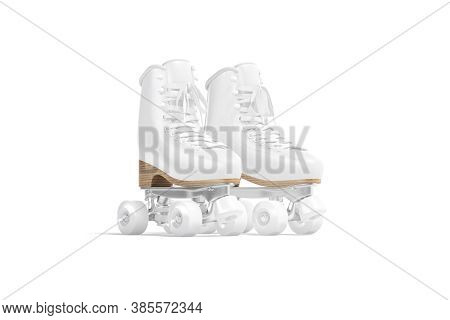 Blank White Roller Skates With Wheels Mockup Pair, Half-turned View, 3d Rendering. Empty Disco Shoel