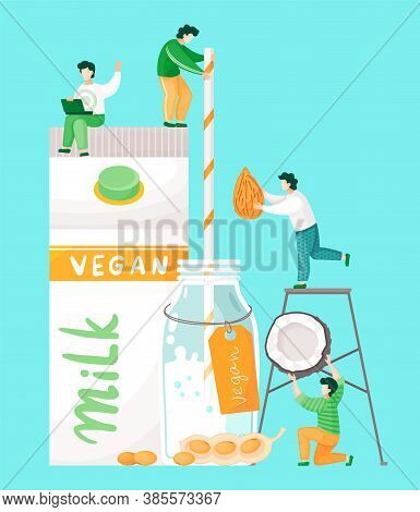 Plant-based Vegan Nutty Milk. Healthy Cow Alternative To Lactose Milk. Cartoon Illustration Of Tiny