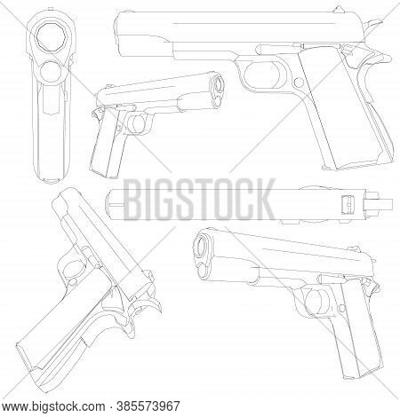 Set With A Contour Of A 1911 Colt Pistol. Contour Of A Pistol In Different Positions Isolated On A W