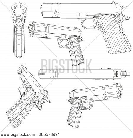 Set With A Low Poly Pistol Colt 1911. Wireframe Of A Pistol In Different Positions Isolated On A Whi