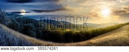Day And Night Time Change Concept Above Mountainous Countryside. Beautiful Panorama Of Carpathians W