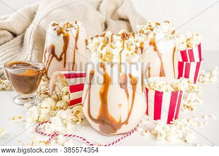 Popcorn Caramel Winter Cocktail. White Hot Chocolate With Popcorn And Caramel Sauce, Copy Space
