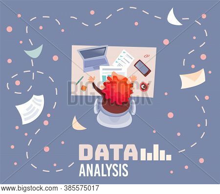 Office Table Topview Of Red-haired Man Working In Office, Analyses Data Document. Cup Of Coffee, Lap
