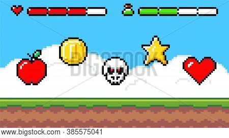 Pixel Art Game Background With Reward Object In The Air. Game Scene With Grass Platform And Prizes I