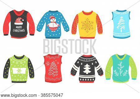 Cute Set Of Christmas Sweater Isolated On A White Background. Ugly Christmas Sweaters Seamless Vecto