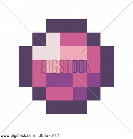 Vector Pixel Diamond. Pixel Art Style 8-bit. Illustration Of Pixel Art Isolated On White Background.