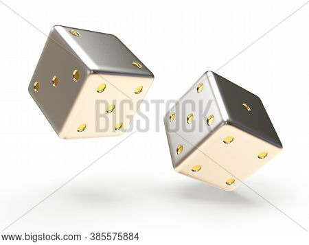 Silver Dice Cubes Isolated On White Background. 3d Illustration