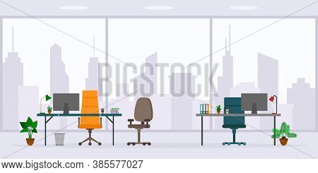Design Of Empty Office Work Place Front View Vector Illustration. Flat Style Table, Desk, Chair, Com