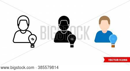 Aerostat Icon Of 3 Types Color, Black And White, Outline. Isolated Vector Sign Symbol.