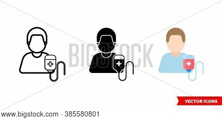 Blood Donor Icon Of 3 Types Color, Black And White, Outline. Isolated Vector Sign Symbol.