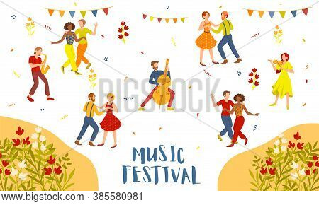 Music Festival Advertising Poster Design With Dancing Couples And Musicians Above Flowers And Text,