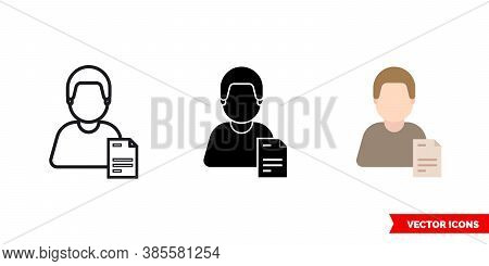 Clerk Secretary Icon Of 3 Types Color, Black And White, Outline. Isolated Vector Sign Symbol.