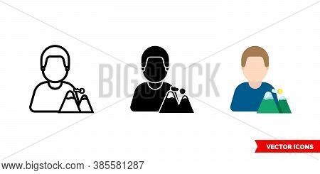 Climber Mountaineer Icon Of 3 Types Color, Black And White, Outline. Isolated Vector Sign Symbol.