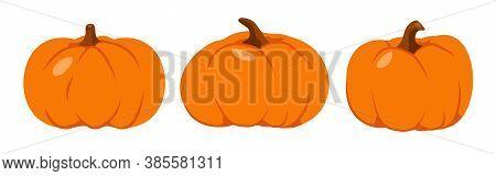 Autumn Pumpkin Flat Icon Set.cartoon Different Shape Orange Gourd. Symbol Thanksgiving And Halloween