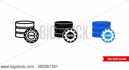 Cms Icon Of 3 Types Color, Black And White, Outline. Isolated Vector Sign Symbol.