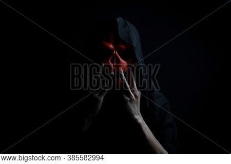 People Wearing Ghost Mask At Night, Dark Halloween Concept.