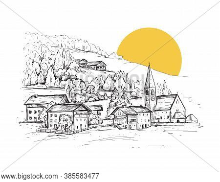 Rural Landscape With Sunrise. Italy, Europe. Santa Maddalena. Val Di Funes Valley. Sketch Vector Ill