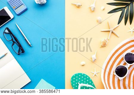 Summer Vacation And Job Busy Concepts With Different Lifestyle Of Accessory On Colorful Space Backgr