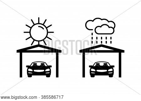 Carports - Automobile Protection From Ultraviolet Light And Rain - Isolated Monochrome Vector Icons