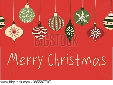 Merry Christmas Greeting Card Template With Ornaments. Holiday Vector Design With Hanging Christmas